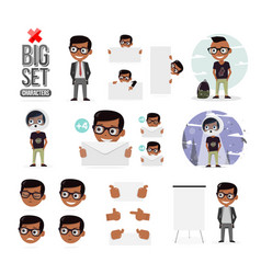 set boys character creation set icons with vector image vector image