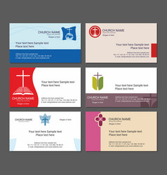 set christian business cards for the church vector image vector image