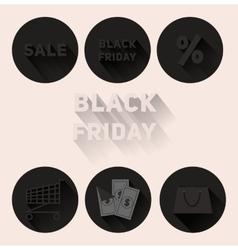 Set flat black icons Black Friday sale vector image