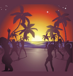 sunset beach party vector image
