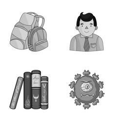 Tentacles education and other monochrome icon in vector