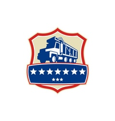 Triple axle dump truck stars crest retro vector