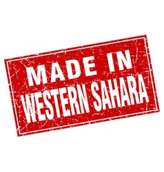 Western sahara red square grunge made in stamp vector