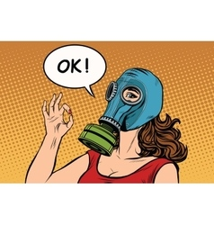 Young woman in gas mask okay gesture vector