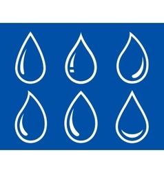 glossy water drops set vector image