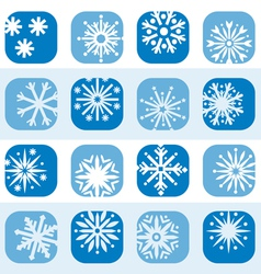 Color snowflake icon set vector