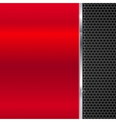 Background of polished red metal and black mesh vector image