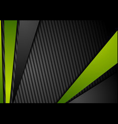 Tech black background with contrast green stripes vector