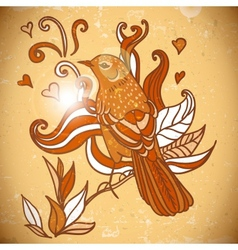 Background with swirls leaves and bird vector