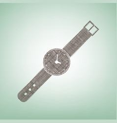 Watch sign   brown flax icon vector