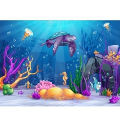 The underwater world with a funny fish and turtle vector