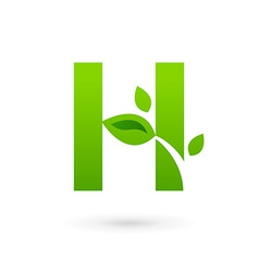 Letter H eco leaves logo icon design template vector image