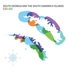 Abstract color map of south georgia and vector