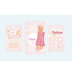 Price tags with fashion girls set vector