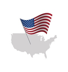 United states of america flag with usa map vector