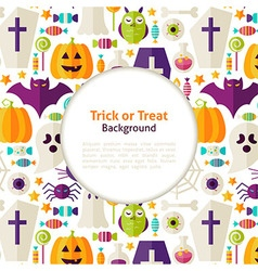 Flat halloween trick or treat background vector
