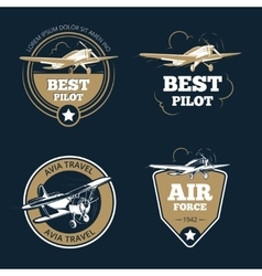 Aircraft and transportation labels air tourism vector