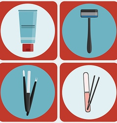 Beauty tools colorful icon set vector