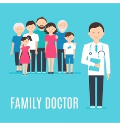 Extended family and medical doctor or physician vector