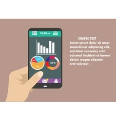 Hand holding smart phone with graphs on modern vector