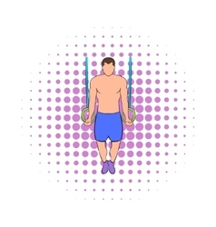 Man training on gymnastic rings icon comics style vector
