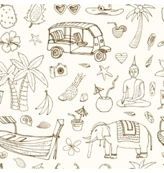Hand drawn doodle thailand travel seamless pattern vector