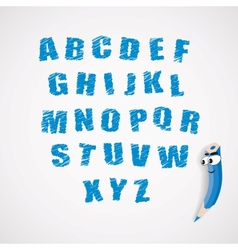 Alphabet and cartoon crayon vector