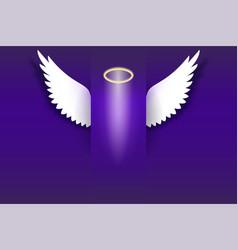 Angel wings with golden halo hovering in the dark vector