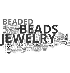 beaded jewelry text word cloud concept vector image vector image