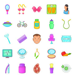 beauty saloon icons set cartoon style vector image vector image