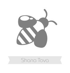 Bee rosh hashanah icon shana tova vector
