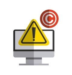 Computer and c icon copyright design vector
