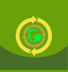 Earth with arrows in logo organic life symbol vector