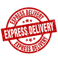 express delivery round red grunge stamp vector image vector image