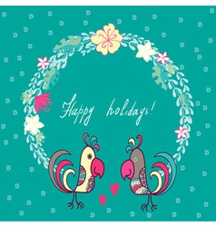 floral frame with cute parrots vector image