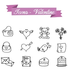 Hand draw icon element valentine vector
