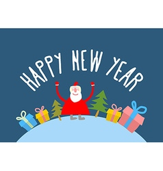 Happy new year Cute Santa Claus with gift and vector image vector image