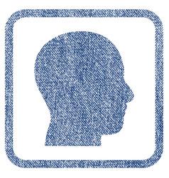 head profile fabric textured icon vector image vector image