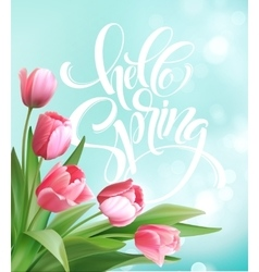 Hello Spring hand Lettering with tulip flower vector image vector image