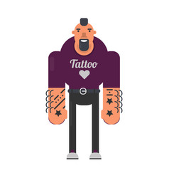 informal man with tattoes on hands and reckless vector image vector image