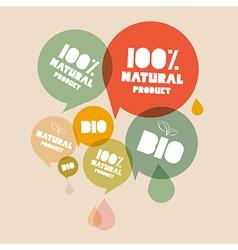 Retro natural product bio green labels set vector