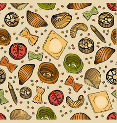 seamless pattern with different types of tasty vector image vector image