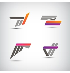 set of abstract stripe ribbon logos icons vector image vector image