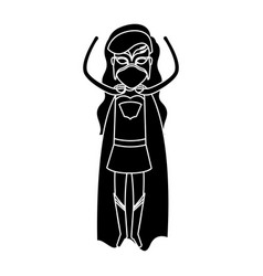 Silhouette black front view superwoman standing in vector
