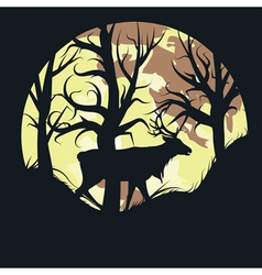 Stag over Full Moon vector image