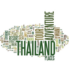 Thailand adventure tour text background word vector