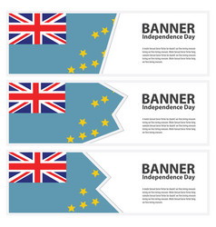 Tuvalu flag banners collection independence day vector
