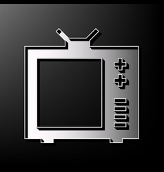 Tv sign gray 3d printed icon vector