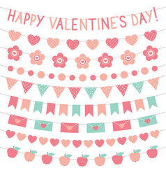 valentines day decoration set vector image vector image