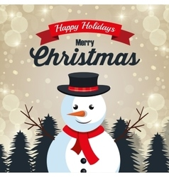 Happy holiday merry christmas snowman design vector